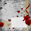 Romantic vintage background with red roses and hearts (1 of set — Stock fotografie