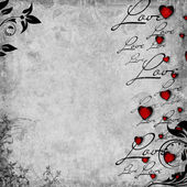 Romantic vintage background with red hearts and text love (1 of — Stock fotografie