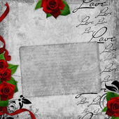 Romantic vintage background with red roses — Stockfoto