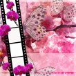 Butterflies and orchids flowers pink background with film fram — Stock Photo #4602515