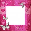Stock Photo: Pink frame with hearts for design