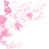 Butterflies and flowers pink background — Stock Photo