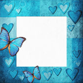 Blue grange frame with hearts for design — Stock Photo