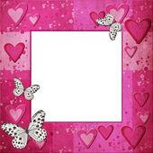 粉色框架与设计的心 — 图库照片