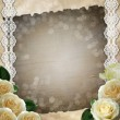 Vintage geige  background with lace  and white roses — Stock Photo
