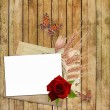 Card for invitation or congratulation with red rose - Stock Photo