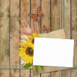 Card for invitation or congratulation with  sunflowers  and butt — Stock Photo