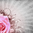 Grunge background with rose - Stock Photo
