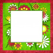 Stock Photo: Summer funny floral cutout frame for photo or text