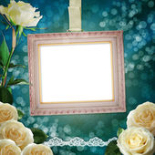 Vintage background with frame and white roses — Stock Photo