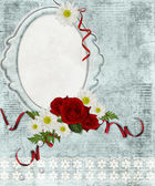 Vintage frame on grange background with lace and flowers — Stock Photo