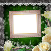 Vintage background with frames and white roses — Stockfoto