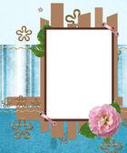 Diseño moderno scrapbook en colores azules y marrón con foto fram — Foto de Stock