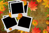 Vintage autumn background with frames for photo — Stock Photo