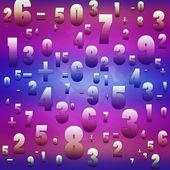 Wiskunde getallen en tekens op blauwe achtergrond — Foto de Stock