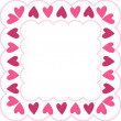 Pink frame with hearts — Stockfoto