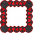 Grey frame with red hearts — Stock Photo