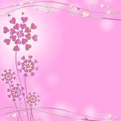 Roze achtergrond met hartjes en ruimte voor tekst — Stockfoto