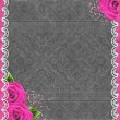 Grey grunge background with roses and lace — Stock Photo