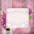 Stock Photo: Card for congratulation or invitation with pink roses