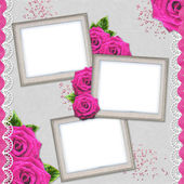 Vintage elegant silver frames with rose and lace — Stock Photo