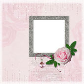 Wedding frame with rose and diamonds — Stockfoto