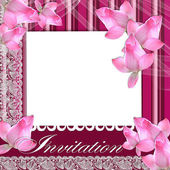 Card for invitation with lace and orchid — Stock Photo