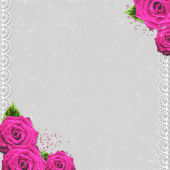 Grunge background with pink roses and lace — Stock Photo