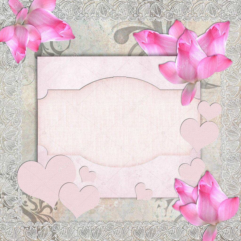 Card for congratulation or invitation with pink orchids — Stock Photo #4753614