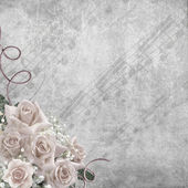Wedding Day background with roses and notes — Stock Photo