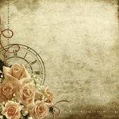バラと時計のレトロなヴィンテージ ロマンチックな背景 — ストック写真