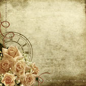 Retro vintage romantic background with roses and clock — Stok fotoğraf