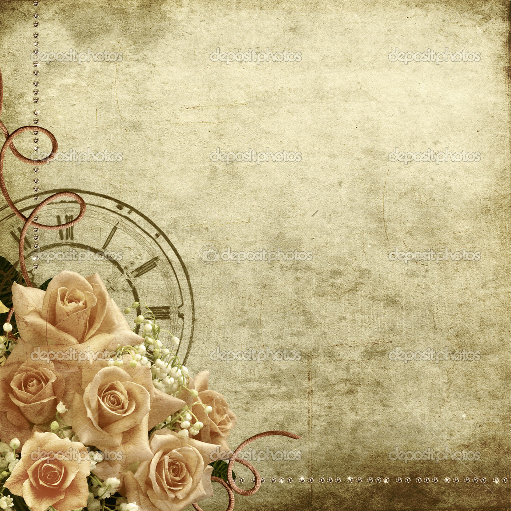 Retro vintage romantic background with roses and clock  — Stock Photo #4828503