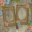 Two frames on vintage background - Zdjęcie stockowe