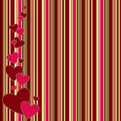 Vintage striped background with hearts — Stock Photo
