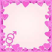 Male and female symbols on background with hearts — Stok fotoğraf