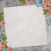 Karta pro dovolenou s květinami na vinobraní pozadí — Stock fotografie