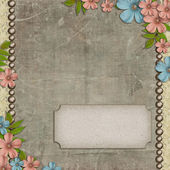 Vintage background with flower composition and space for text — Stock Photo