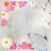 Album cover in Floral design and butterflies — Stock Photo