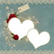 Vintage elegant hearts frame with roses, lace and pearls — Stock Photo #5025867