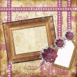 Photo frame for a girl with a flowers,  lace, tage — Stock Photo