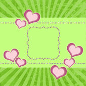 Greeting card with diamonds and hearts on srtiped background — Stock Photo