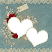 Vintage elegant hearts frame with roses, lace and pearls — Stock Photo