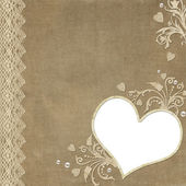 Vintage elegant heart frame with lace and pearl — Stockfoto