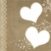 Vintage elegant heart frame with lace and pearl — Stock Photo