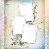 красивая рамка для трех фотографий — Стоковое фото