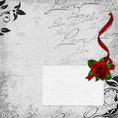 Beautiful card with red roses on the white background — Stock Photo