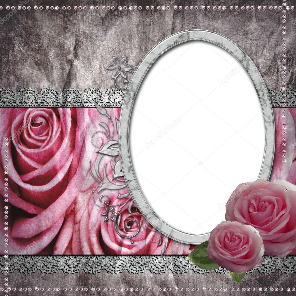Vintage wedding frame for photo  — Stock Photo #5160820