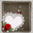 Vintage elegant heart frame with red  rose,  lace and pearls - Stock Photo