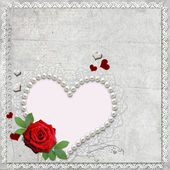Vintage elegant heart frame with rose, lace and pearls — Stock Photo